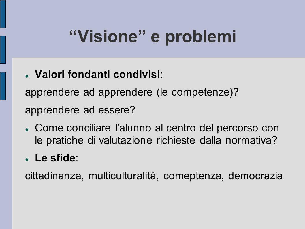 """""""Visione"""" e problemi Valori fondanti condivisi: apprendere ad apprendere (le competenze)? apprendere ad essere? Come conciliare l'alunno al centro del"""