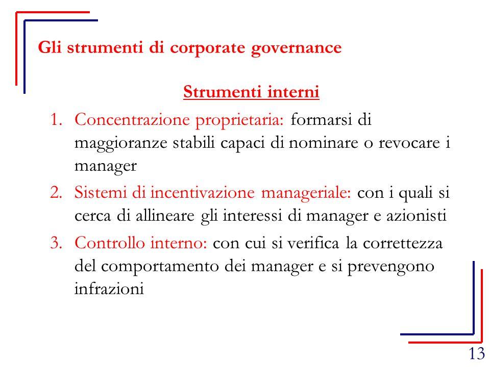13 Gli strumenti di corporate governance Strumenti interni 1.Concentrazione proprietaria: formarsi di maggioranze stabili capaci di nominare o revocar