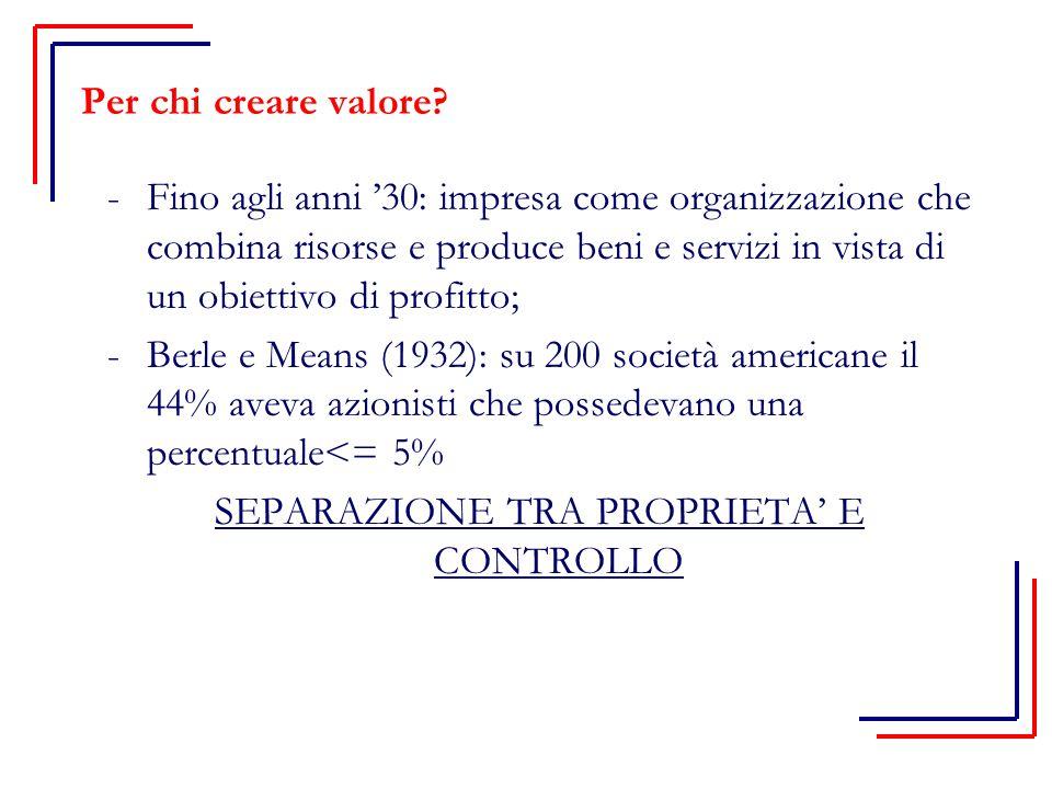 Per chi creare valore? -Fino agli anni '30: impresa come organizzazione che combina risorse e produce beni e servizi in vista di un obiettivo di profi