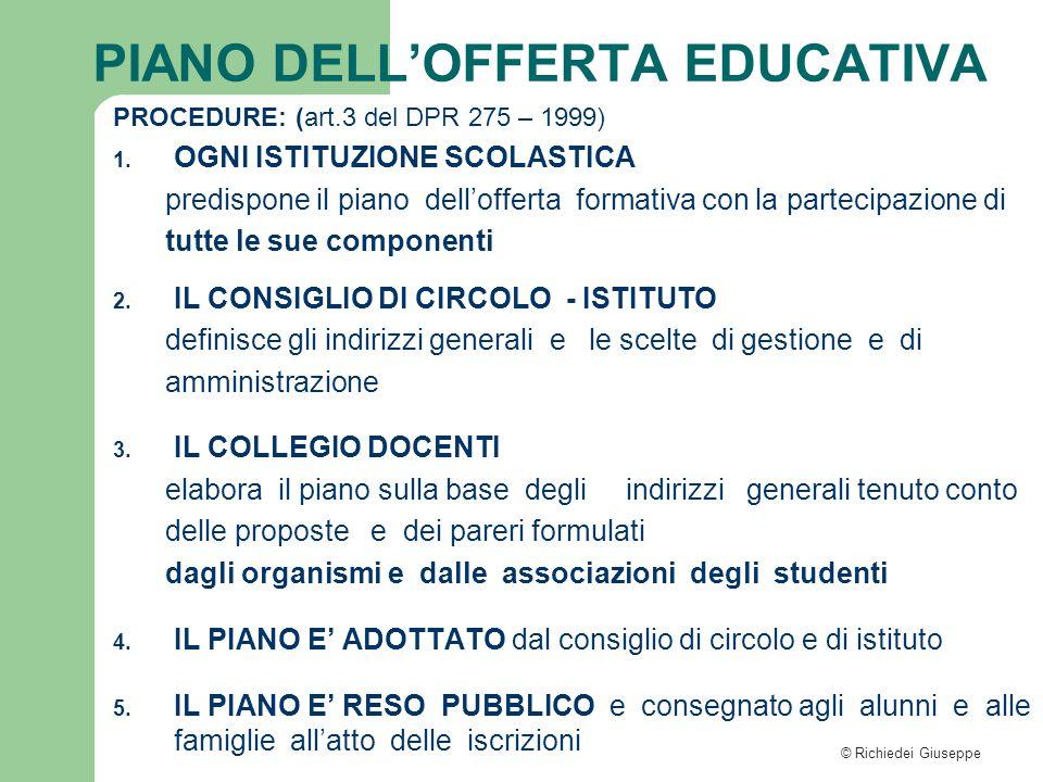 © Richiedei Giuseppe PROCEDURE: (art.3 del DPR 275 – 1999) 1. OGNI ISTITUZIONE SCOLASTICA predispone il piano dell'offerta formativa con la partecipaz
