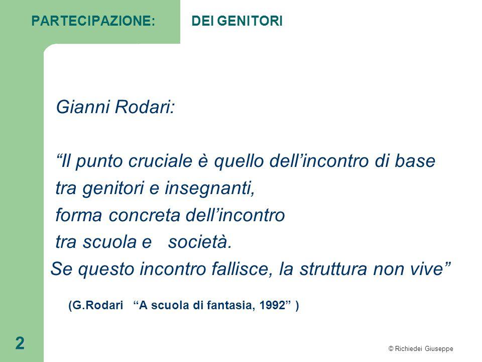 """© Richiedei Giuseppe 2 PARTECIPAZIONE: DEI GENITORI Gianni Rodari: """"Il punto cruciale è quello dell'incontro di base tra genitori e insegnanti, forma"""