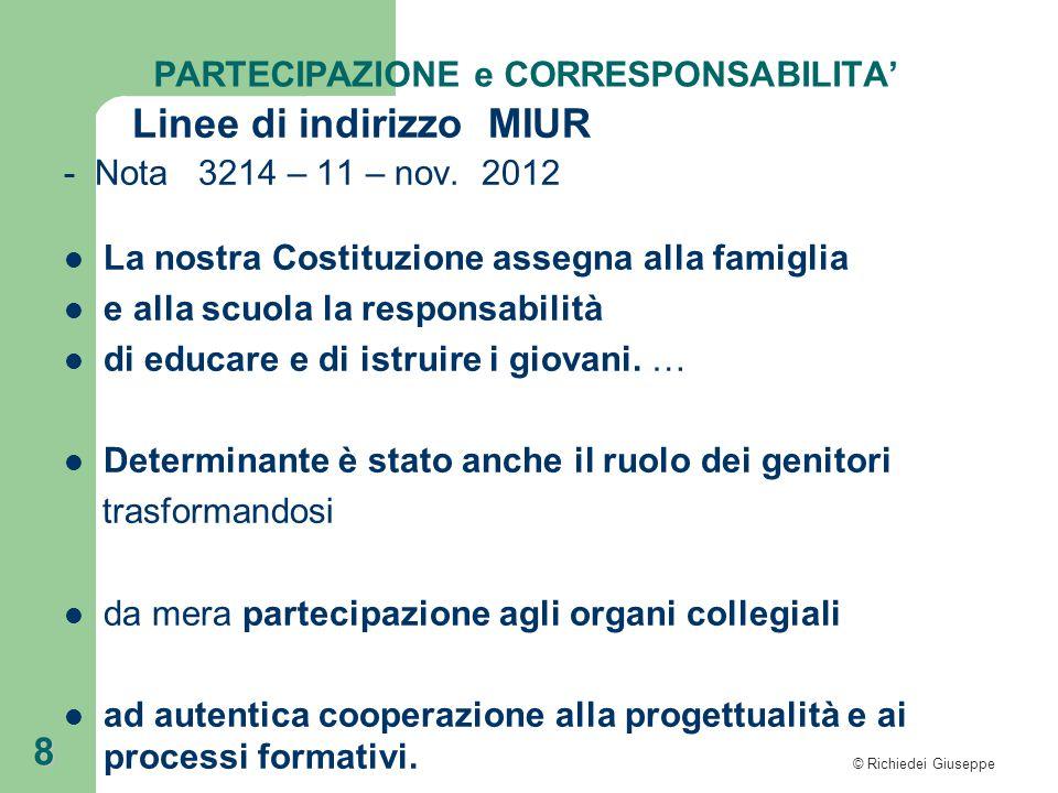 © Richiedei Giuseppe 8 PARTECIPAZIONE e CORRESPONSABILITA' Linee di indirizzo MIUR - Nota 3214 – 11 – nov.