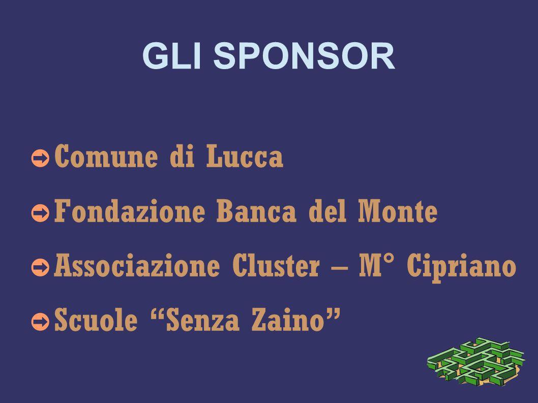 GLI SPONSOR ➲ Comune di Lucca ➲ Fondazione Banca del Monte ➲ Associazione Cluster – M° Cipriano ➲ Scuole Senza Zaino