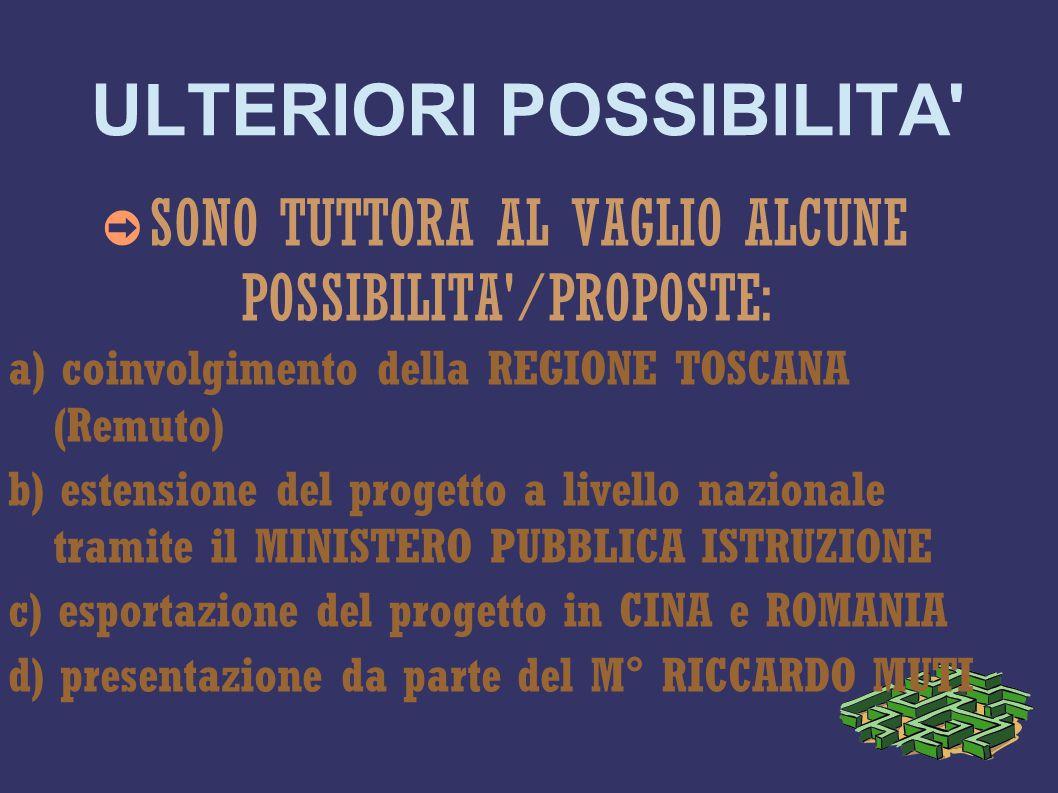 ULTERIORI POSSIBILITA ➲ SONO TUTTORA AL VAGLIO ALCUNE POSSIBILITA /PROPOSTE: a) coinvolgimento della REGIONE TOSCANA (Remuto) b) estensione del progetto a livello nazionale tramite il MINISTERO PUBBLICA ISTRUZIONE c) esportazione del progetto in CINA e ROMANIA d) presentazione da parte del M° RICCARDO MUTI