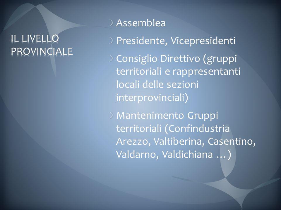Assemblea Presidente, Vicepresidenti Consiglio Direttivo (gruppi territoriali e rappresentanti locali delle sezioni interprovinciali) Mantenimento Gruppi territoriali (Confindustria Arezzo, Valtiberina, Casentino, Valdarno, Valdichiana …)