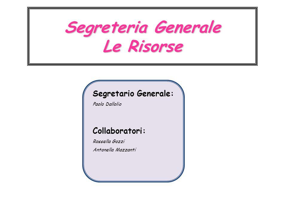 Segreteria Generale Le Risorse Segretario Generale: Paolo Dallolio Collaboratori: Rossella Gozzi Antonella Mazzanti