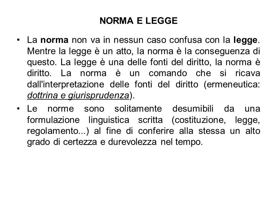 NORMA E LEGGE La norma non va in nessun caso confusa con la legge. Mentre la legge è un atto, la norma è la conseguenza di questo. La legge è una dell