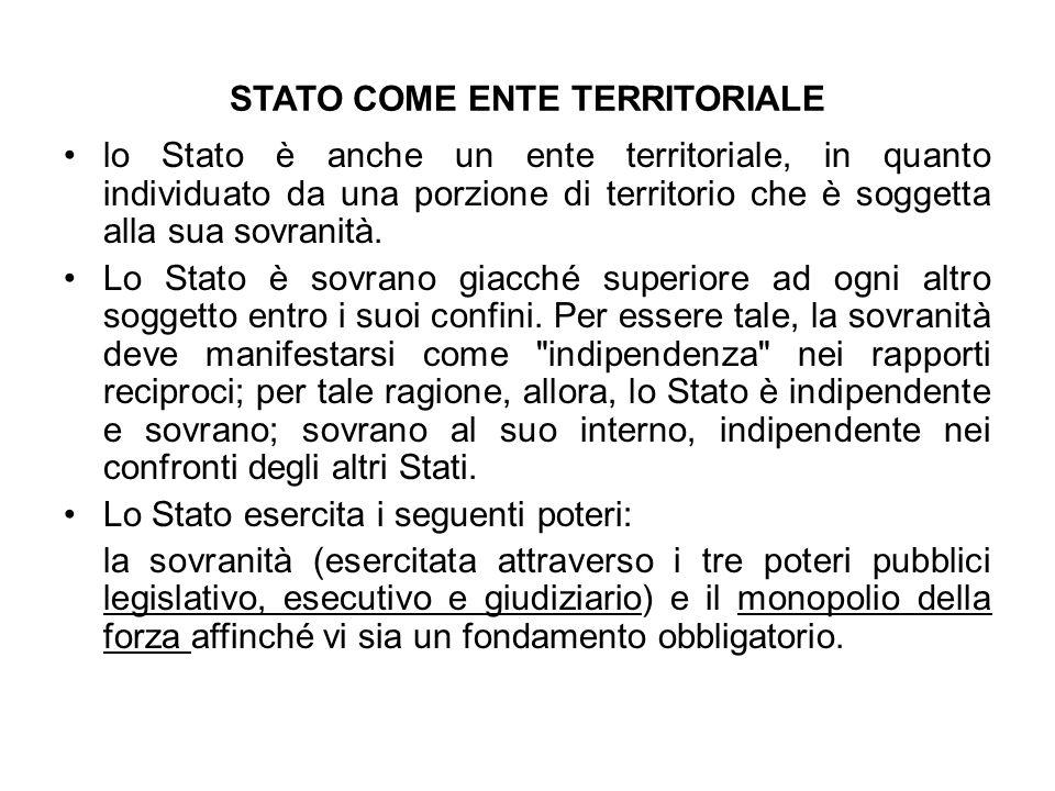 STATO COME ENTE TERRITORIALE lo Stato è anche un ente territoriale, in quanto individuato da una porzione di territorio che è soggetta alla sua sovran