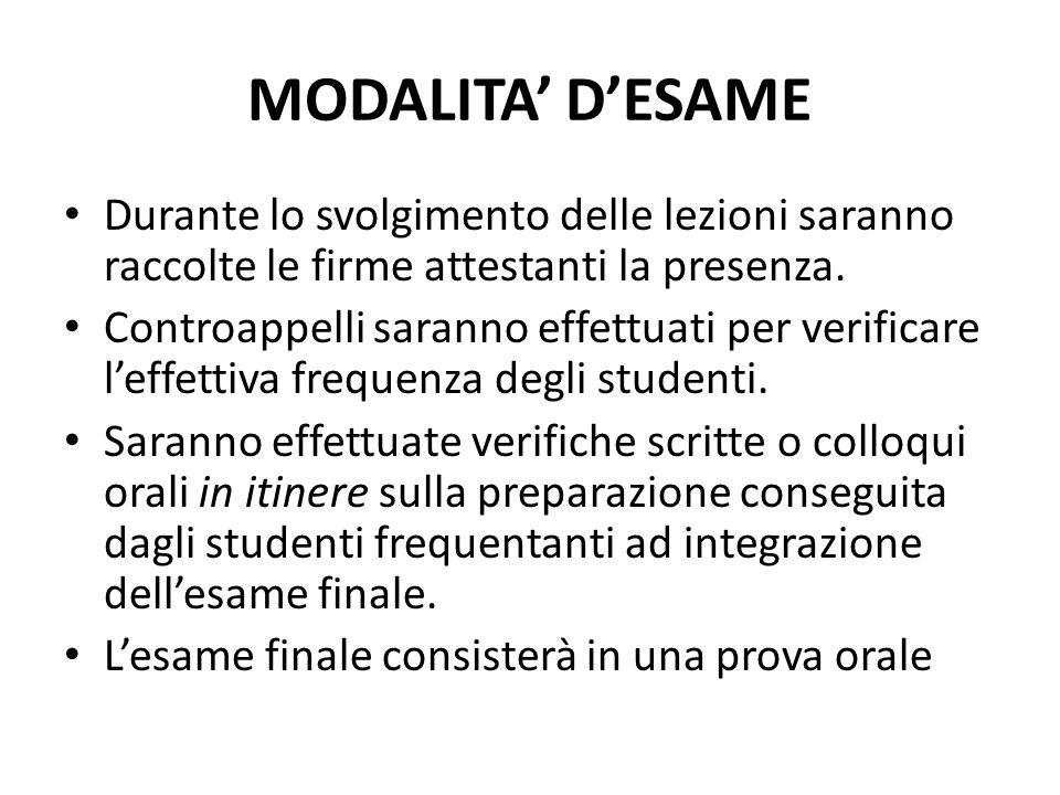 MODALITA' D'ESAME Durante lo svolgimento delle lezioni saranno raccolte le firme attestanti la presenza. Controappelli saranno effettuati per verifica