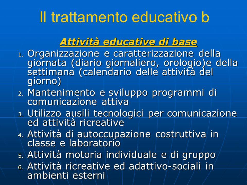 Il trattamento educativo b Attività educative di base 1. Organizzazione e caratterizzazione della giornata (diario giornaliero, orologio)e della setti