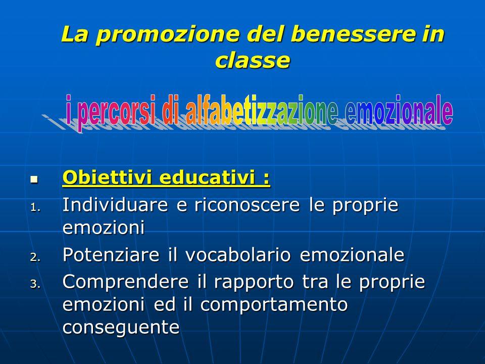 Obiettivi educativi : Obiettivi educativi : 1. Individuare e riconoscere le proprie emozioni 2. Potenziare il vocabolario emozionale 3. Comprendere il