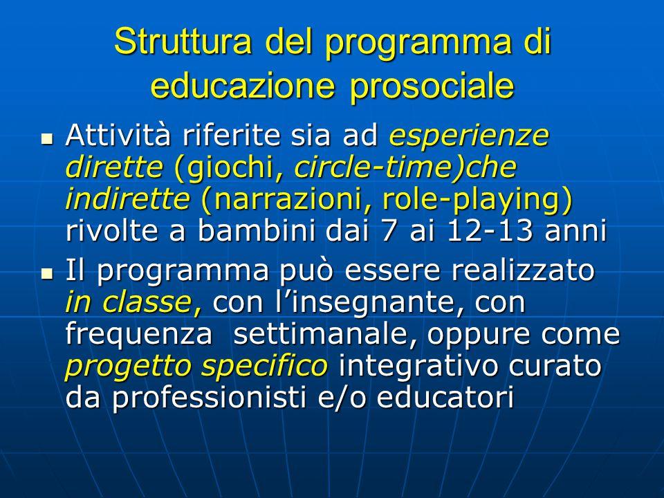 Struttura del programma di educazione prosociale Attività riferite sia ad esperienze dirette (giochi, circle-time)che indirette (narrazioni, role-play