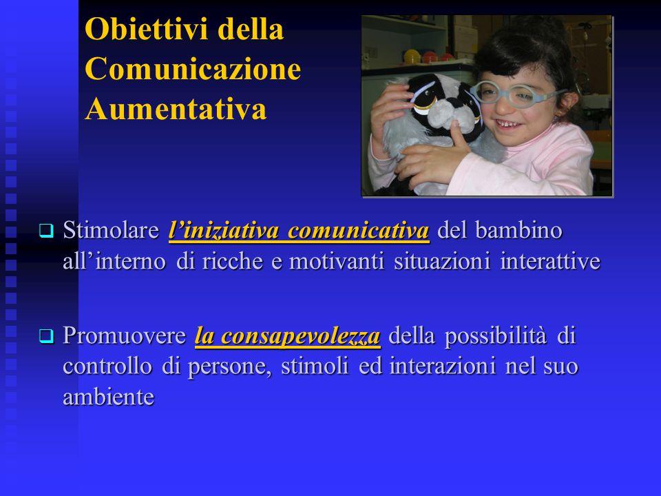 Obiettivi della Comunicazione Aumentativa  Stimolare l'iniziativa comunicativa del bambino all'interno di ricche e motivanti situazioni interattive 