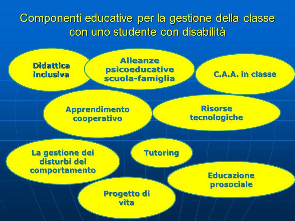 Componenti educative per la gestione della classe con uno studente con disabilità Didattica inclusiva C.A.A. in classe La gestione dei disturbi del co