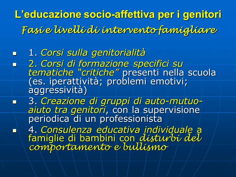 L'educazione socio-affettiva per i genitori Fasi e livelli di intervento famigliare 1. Corsi sulla genitorialità 1. Corsi sulla genitorialità 2. Corsi