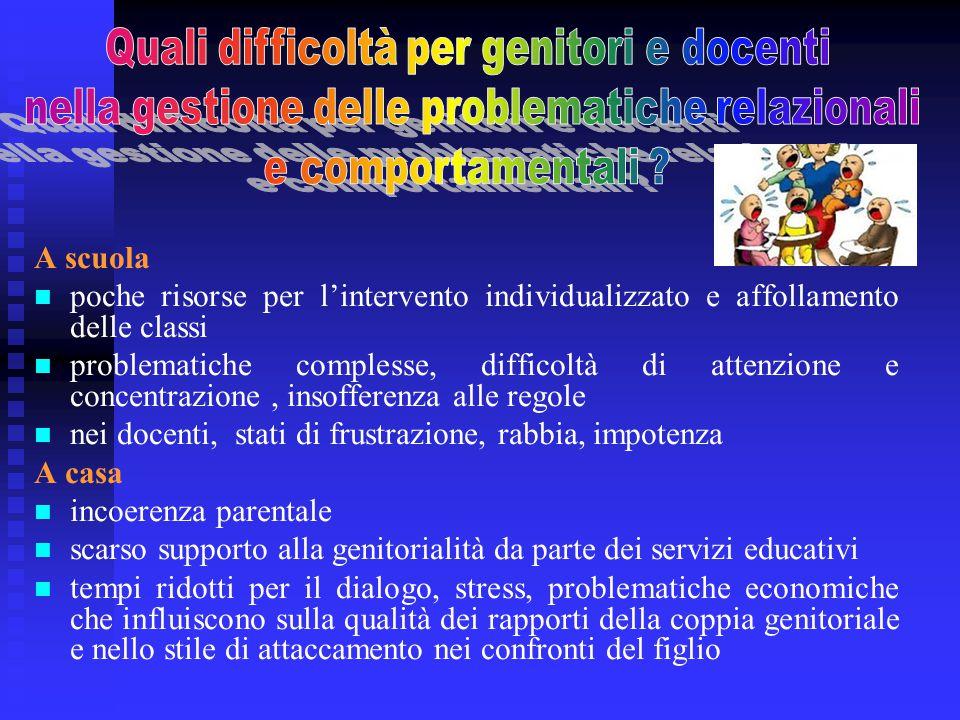 A scuola poche risorse per l'intervento individualizzato e affollamento delle classi problematiche complesse, difficoltà di attenzione e concentrazion