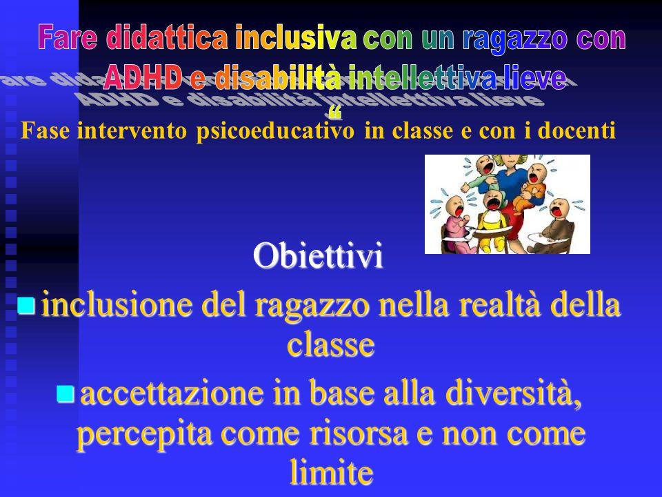 Fase intervento psicoeducativo in classe e con i docentiObiettivi inclusione del ragazzo nella realtà della classe inclusione del ragazzo nella realtà