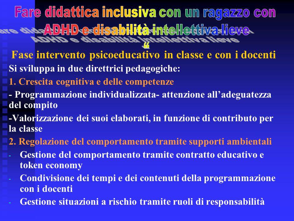 Fase intervento psicoeducativo in classe e con i docenti Si sviluppa in due direttrici pedagogiche: 1. Crescita cognitiva e delle competenze - Program