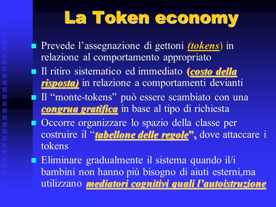 La Token economy Prevede l'assegnazione di gettoni (tokens) in relazione al comportamento appropriato (costo della risposta) Il ritiro sistematico ed