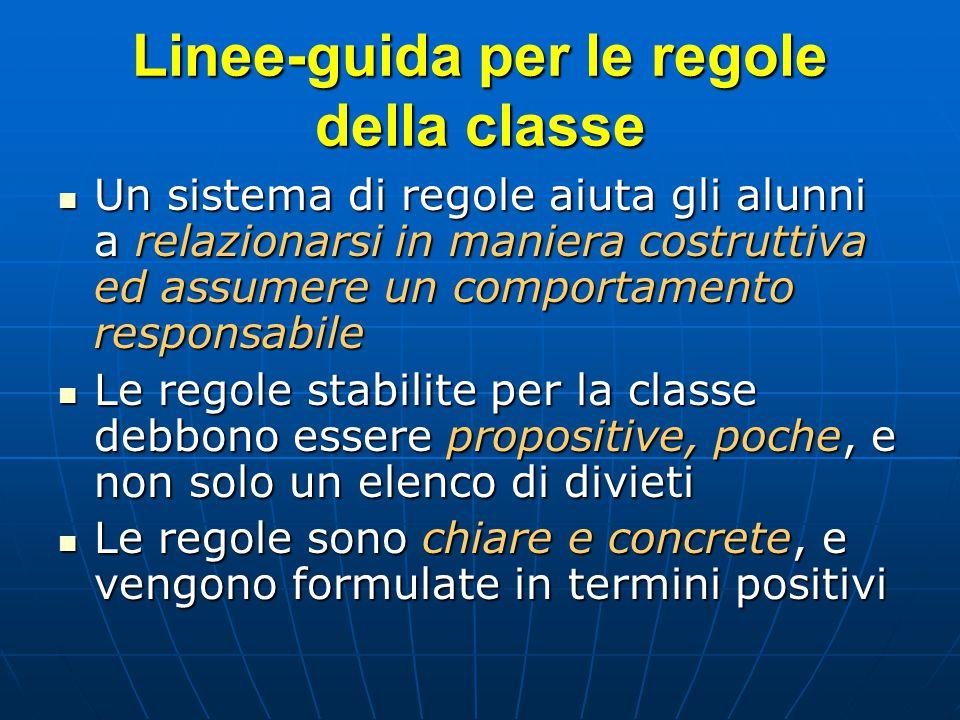 Linee-guida per le regole della classe Un sistema di regole aiuta gli alunni a relazionarsi in maniera costruttiva ed assumere un comportamento respon