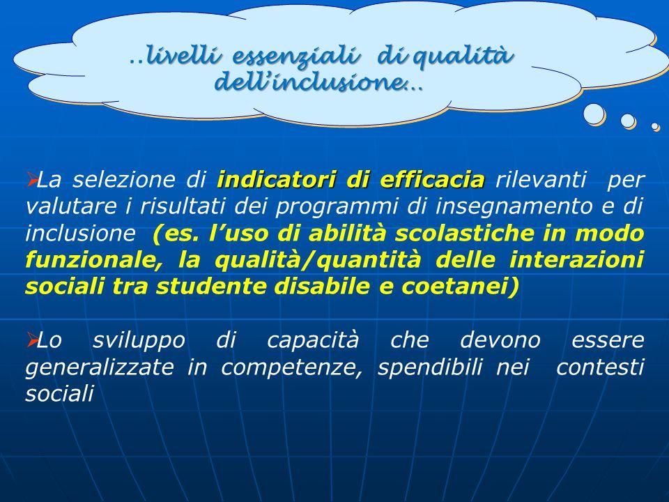 livelli essenziali di qualità dell'inclusione…..livelli essenziali di qualità dell'inclusione… indicatori di efficacia  La selezione di indicatori di