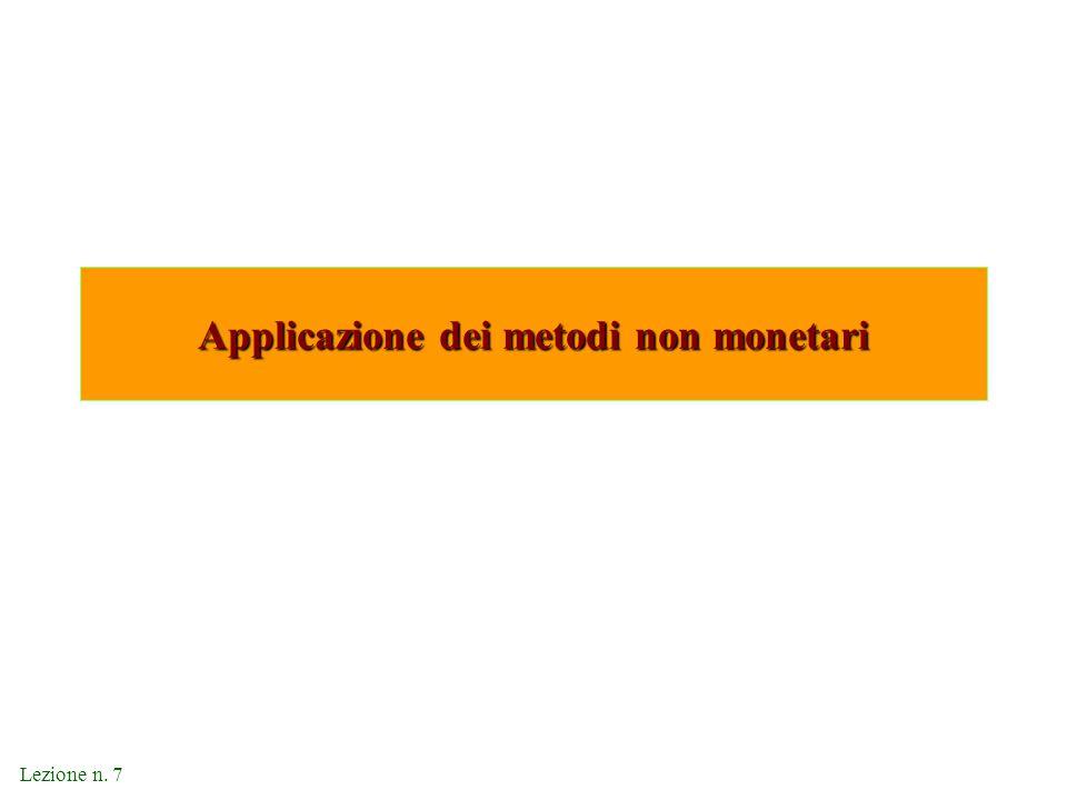 Lezione n. 7 Applicazione dei metodi non monetari