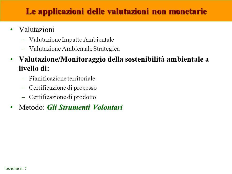 Lezione n. 7 Le applicazioni delle valutazioni non monetarie Valutazioni –Valutazione Impatto Ambientale –Valutazione Ambientale Strategica Valutazion