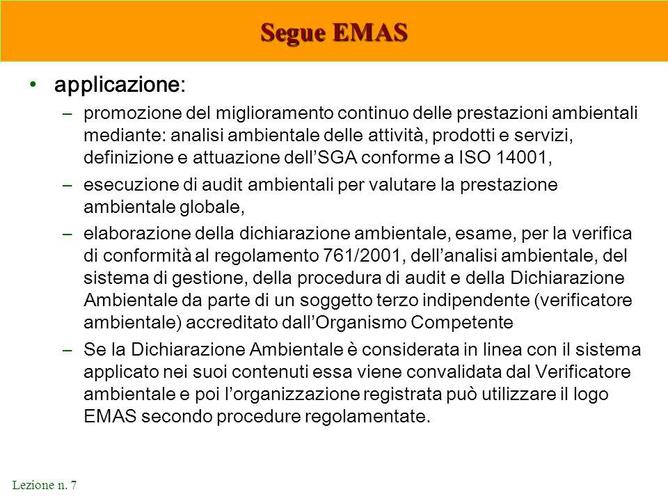 Lezione n. 7 Segue EMAS applicazione: –promozione del miglioramento continuo delle prestazioni ambientali mediante: analisi ambientale delle attività,
