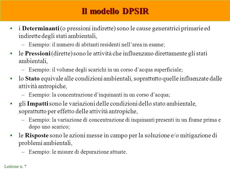 Lezione n. 7 Il modello DPSIR i Determinanti (o pressioni indirette) sono le cause generatrici primarie ed indirette degli stati ambientali, –Esempio: