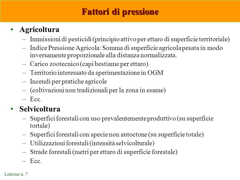 Lezione n. 7 Fattori di pressione Agricoltura –Immissioni di pesticidi (principio attivo per ettaro di superficie territoriale) –Indice Pressione Agri