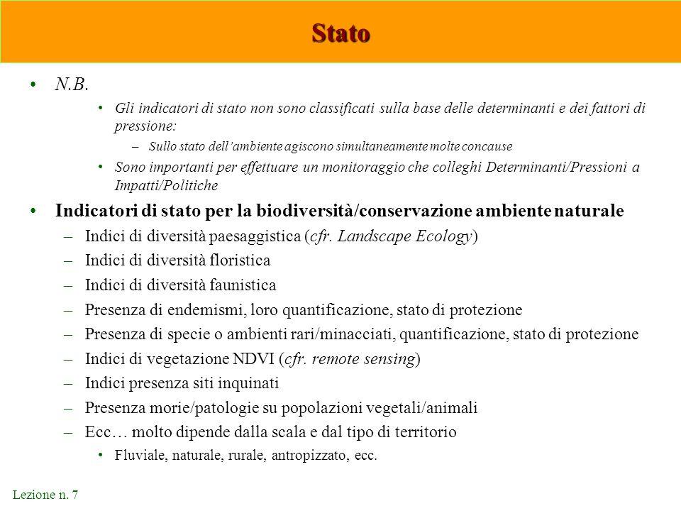 Lezione n. 7 Stato N.B. Gli indicatori di stato non sono classificati sulla base delle determinanti e dei fattori di pressione: –Sullo stato dell'ambi