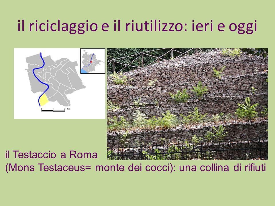 il riciclaggio e il riutilizzo: ieri e oggi il Testaccio a Roma (Mons Testaceus= monte dei cocci): una collina di rifiuti