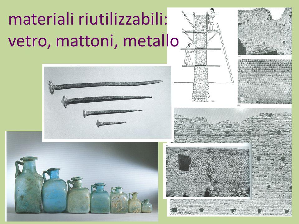 materiali riutilizzabili: vetro, mattoni, metallo