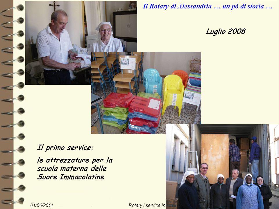 01/06/2011Rotary i service in Togo22/nn Il Rotary di Alessandria … un pò di storia … Luglio 2008 Il primo service: le attrezzature per la scuola materna delle Suore Immacolatine