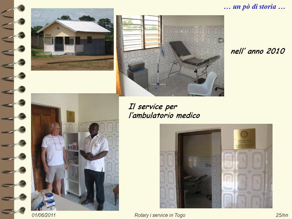 01/06/2011Rotary i service in Togo25/nn … un pò di storia … nell' anno 2010 Il service per l'ambulatorio medico
