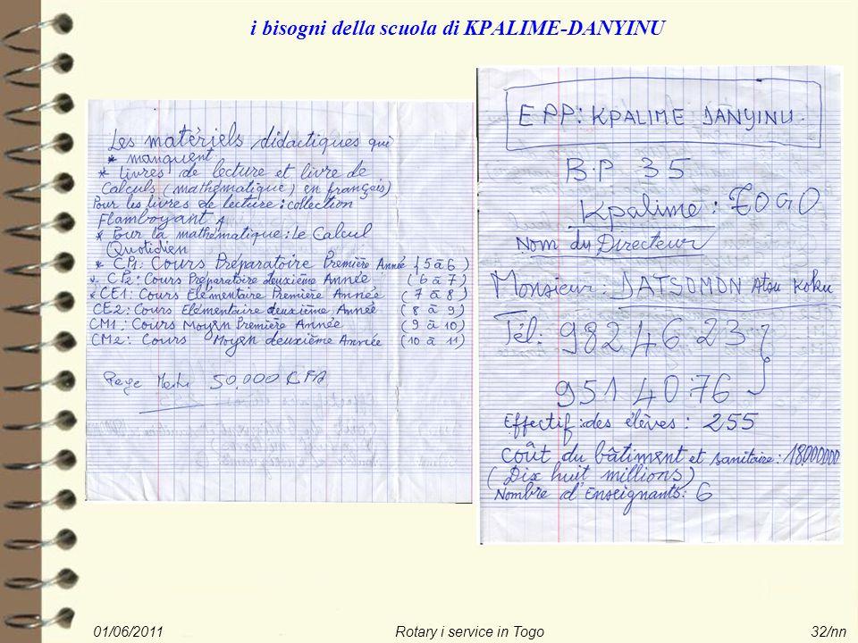 01/06/2011Rotary i service in Togo32/nn i bisogni della scuola di KPALIME-DANYINU