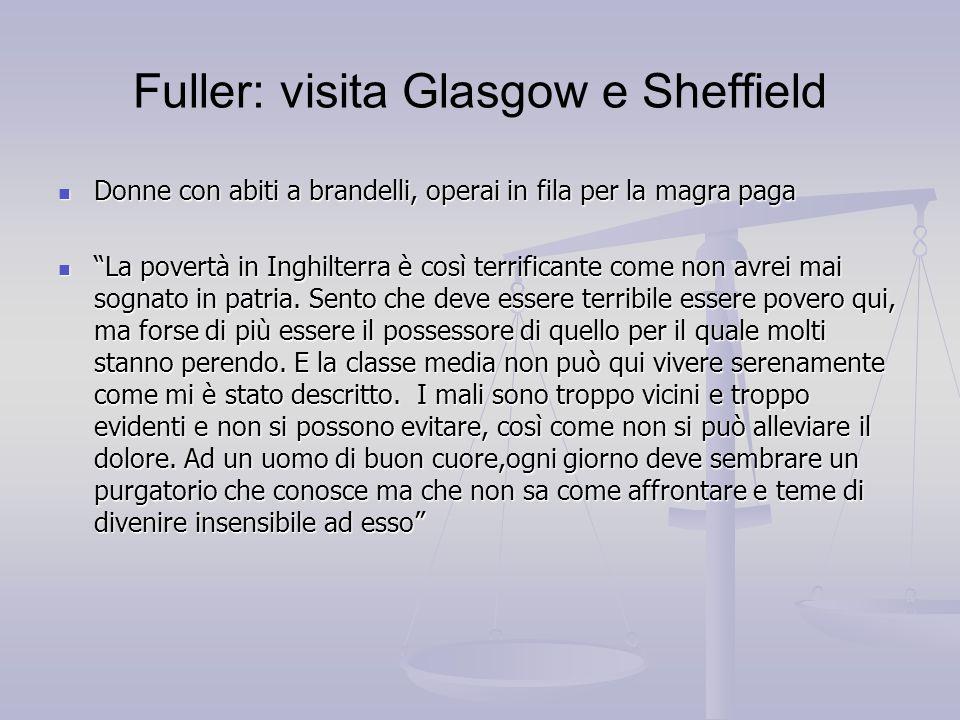 Fuller: visita Glasgow e Sheffield Donne con abiti a brandelli, operai in fila per la magra paga Donne con abiti a brandelli, operai in fila per la ma