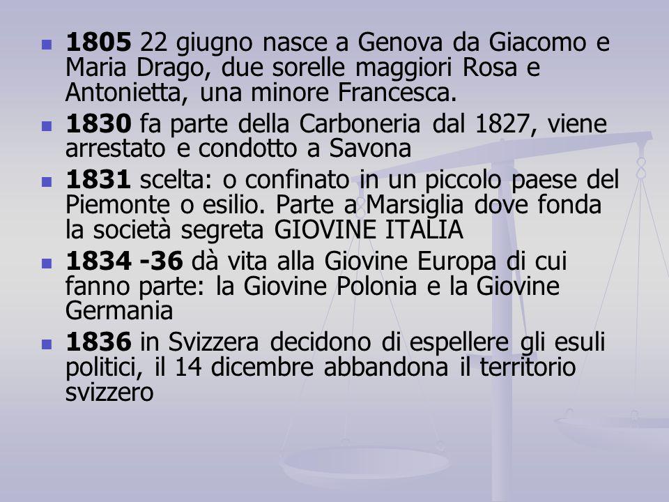 1805 22 giugno nasce a Genova da Giacomo e Maria Drago, due sorelle maggiori Rosa e Antonietta, una minore Francesca. 1830 fa parte della Carboneria d