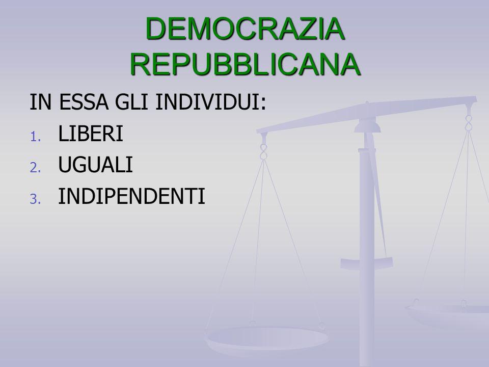 DEMOCRAZIA REPUBBLICANA IN ESSA GLI INDIVIDUI: 1. 1. LIBERI 2. 2. UGUALI 3. 3. INDIPENDENTI