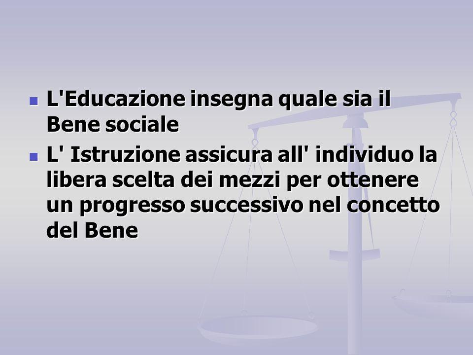 L'Educazione insegna quale sia il Bene sociale L'Educazione insegna quale sia il Bene sociale L' Istruzione assicura all' individuo la libera scelta d