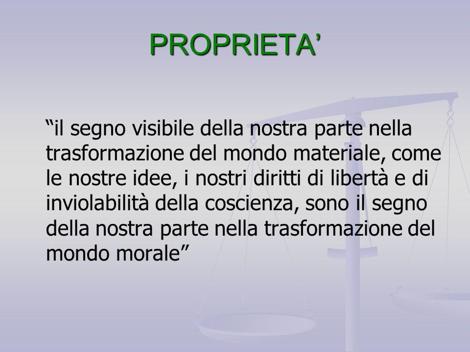 """PROPRIETA' """"il segno visibile della nostra parte nella trasformazione del mondo materiale, come le nostre idee, i nostri diritti di libertà e di invio"""