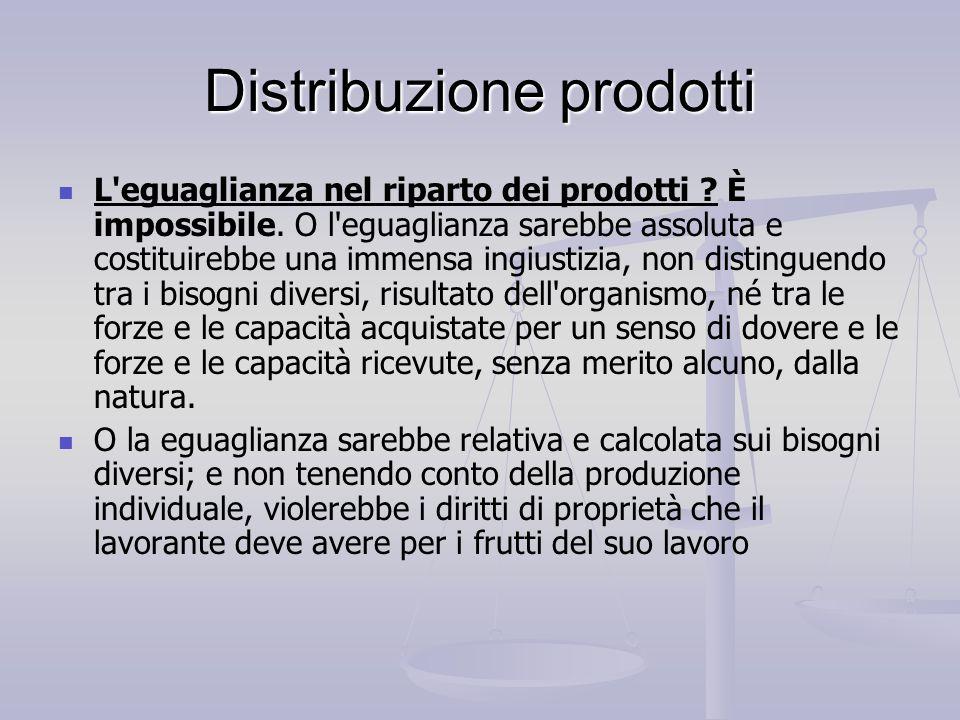 Distribuzione prodotti L'eguaglianza nel riparto dei prodotti ? È impossibile. O l'eguaglianza sarebbe assoluta e costituirebbe una immensa ingiustizi