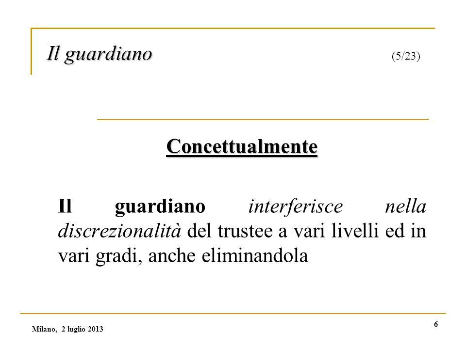 7 Il guardiano Il guardiano (6/23) (1) L'esercizio diretto dei poteri Al guardiano possono essere attribuiti l'esercizio di poteri:  dispositivi  gestionali Milano, 2 luglio 2013