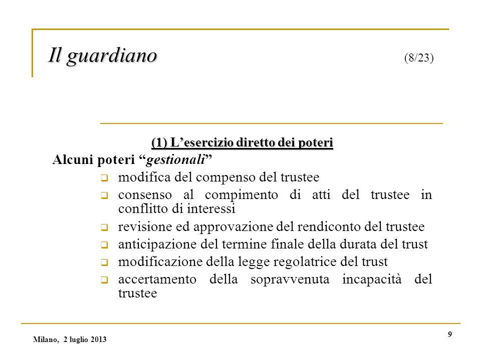 10 Il guardiano Il guardiano (9/23) (2) Prestazione di consenso / potere di veto Con questo potere si limita il potere discrezionale del trustee Milano, 2 luglio 2013