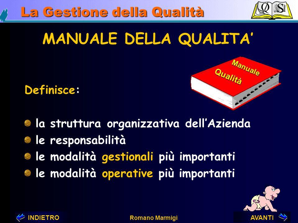 AVANTIINDIETRO Romano Marmigi La Gestione della Qualità Manuale della Qualità e Controllo del Processo Romano MARMIGI ENEA - Roma QUALITA' ?