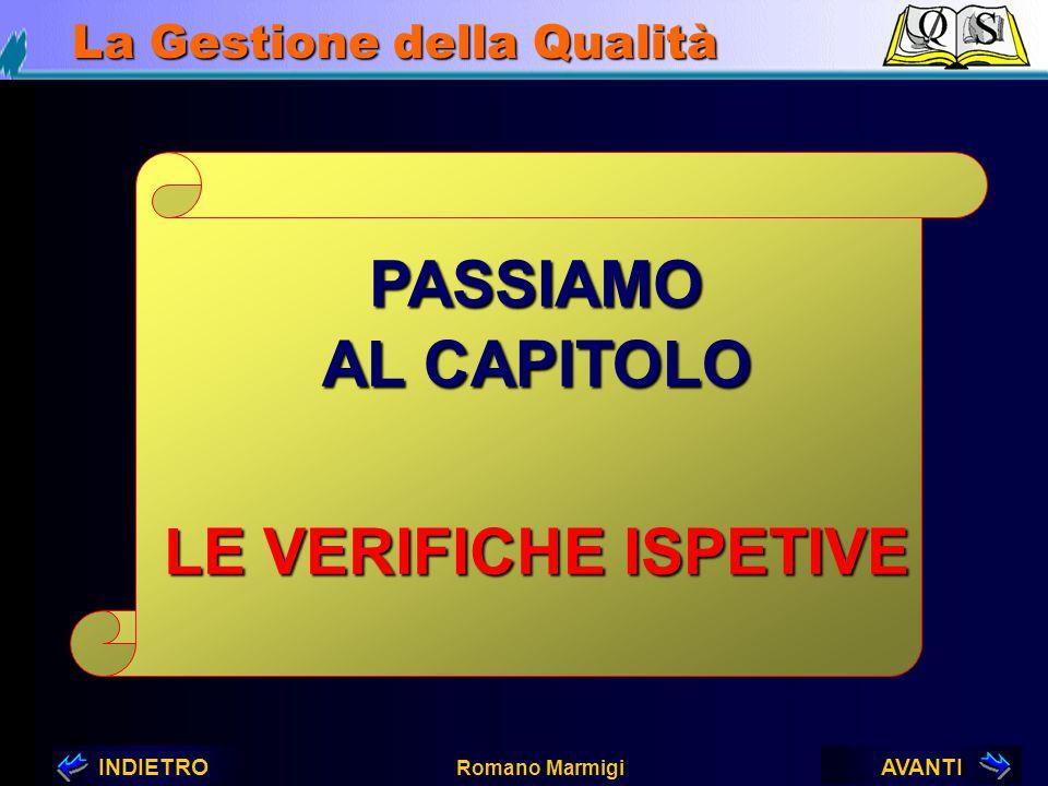 AVANTIINDIETRO Romano Marmigi La Gestione della Qualità VERIFICHE ISPETTIVE Attraverso le...
