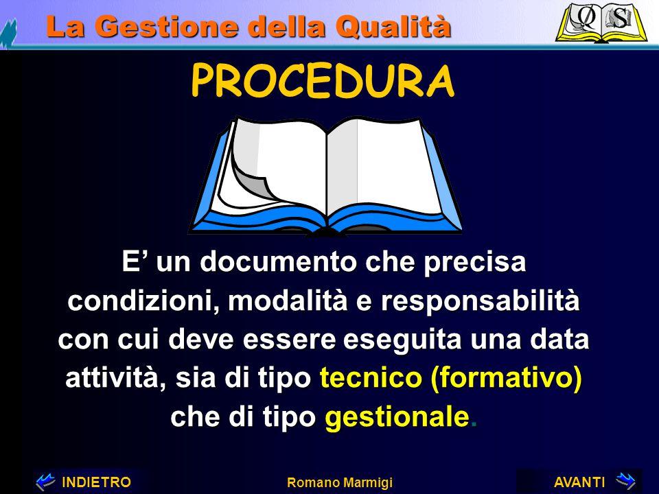 AVANTIINDIETRO Romano Marmigi La Gestione della Qualità SISTEMA QUALITÀ Manuale Qualità Procedure Gestionali Procedure Operative Istruzioni di lavoro
