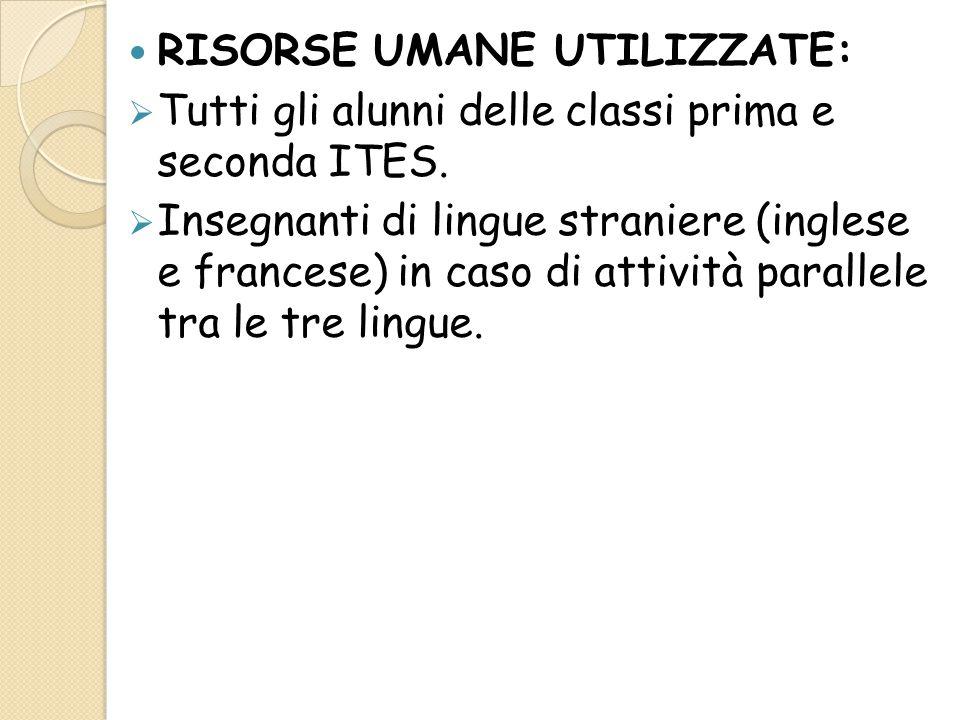 RISORSE UMANE UTILIZZATE:  Tutti gli alunni delle classi prima e seconda ITES.