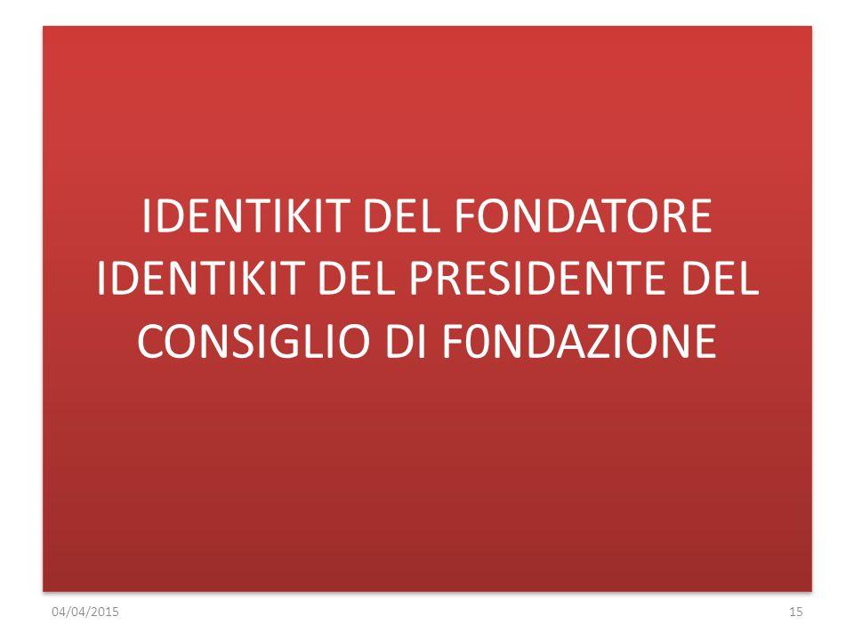 IDENTIKIT DEL FONDATORE IDENTIKIT DEL PRESIDENTE DEL CONSIGLIO DI F0NDAZIONE 04/04/201515