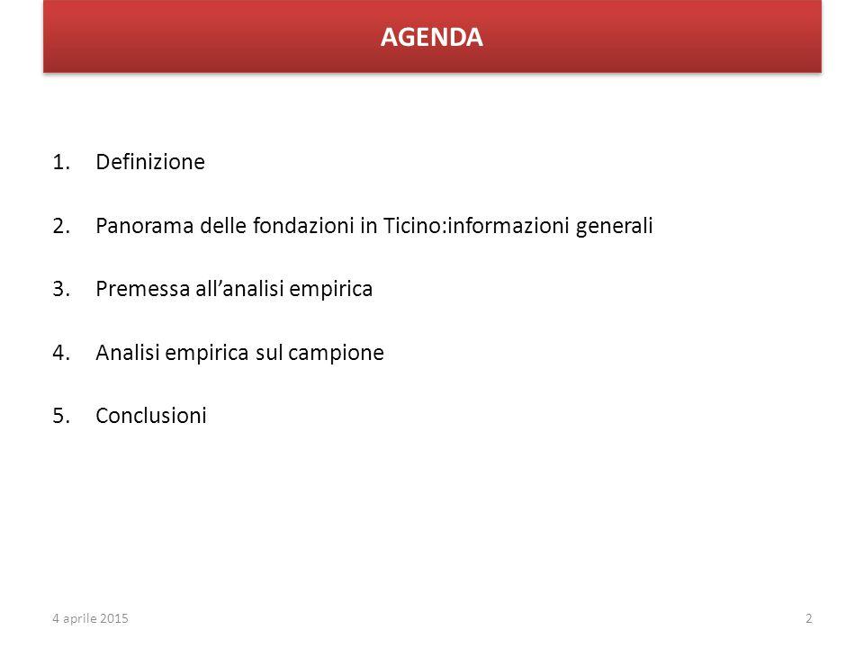 AGENDA 1.Definizione 2.Panorama delle fondazioni in Ticino:informazioni generali 3.Premessa all'analisi empirica 4.Analisi empirica sul campione 5.Conclusioni 24 aprile 2015